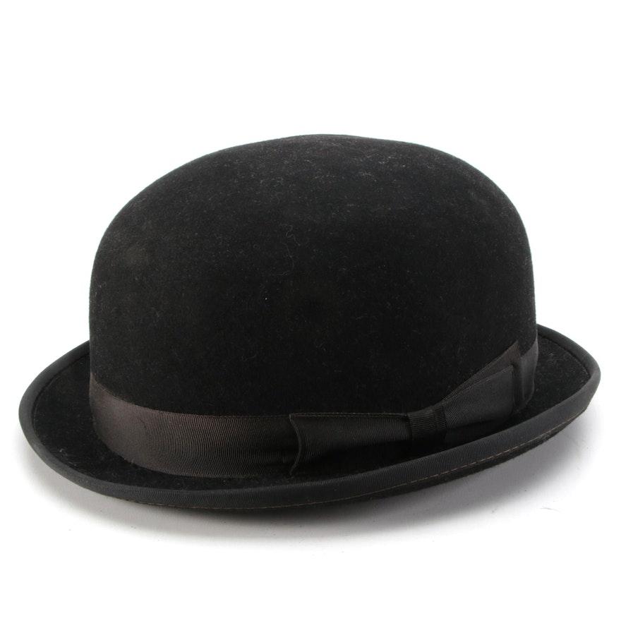 Women's Equestrian Hard Crown Fur Felt Bowler Hat with Detachable Wrist Strap
