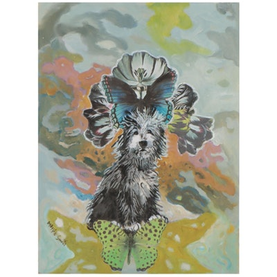 Maggie Smith Mixed Media Painting of Irish Wolfhound with Butterflies