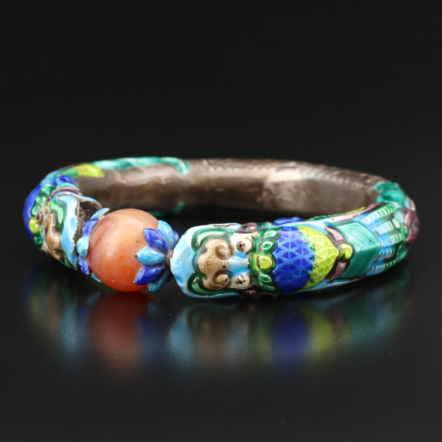 Antique Chinese Agate and Enamel  Double Headed Dragon Bracelet