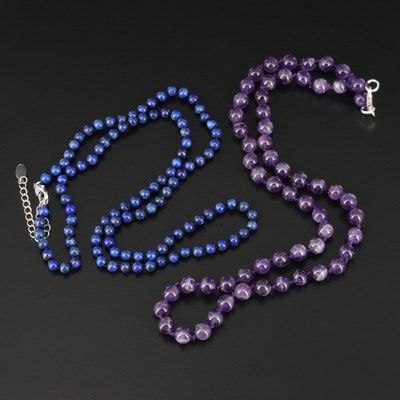 Lapis Lazuli and Amethyst Necklaces with Sterling Silver Clasps