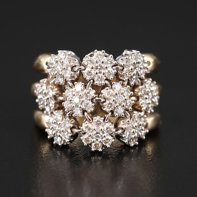 Sonia B 14K 1.00 CTW Diamond Linked Cluster Ring