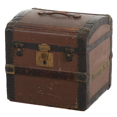 Victorian Slatted Wood and Metal Hat Box or Trunk