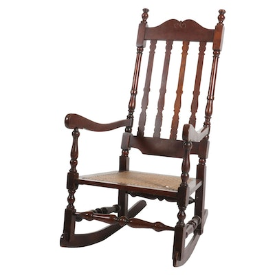 William and Mary Style Wood and Cane Rocking Chair