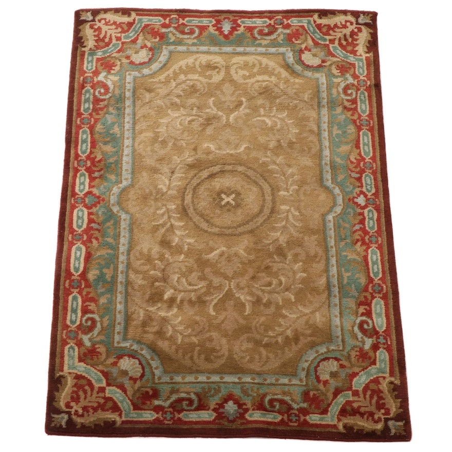 4'2 x 6'1 Hand-Knotted Indo-Persian Numani Wool Area Rug