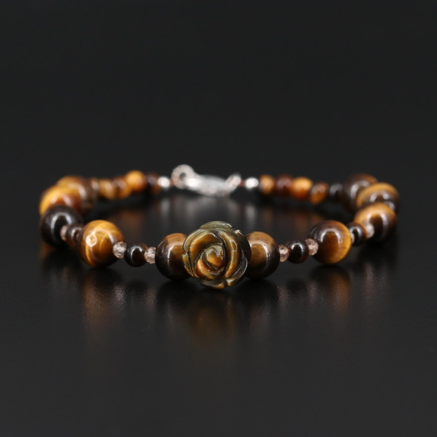 Tiger's Eye and Topaz Bracelet with Carved Floral Center and Sterling Clasp