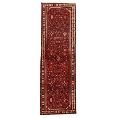 3'6 x 10'9 Hand-Knotted Persian Zanjan Long Rug, 1970s