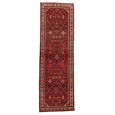 3'6 x 10'9 Hand-Knotted Persian Zanjan Long Rug, 1970s