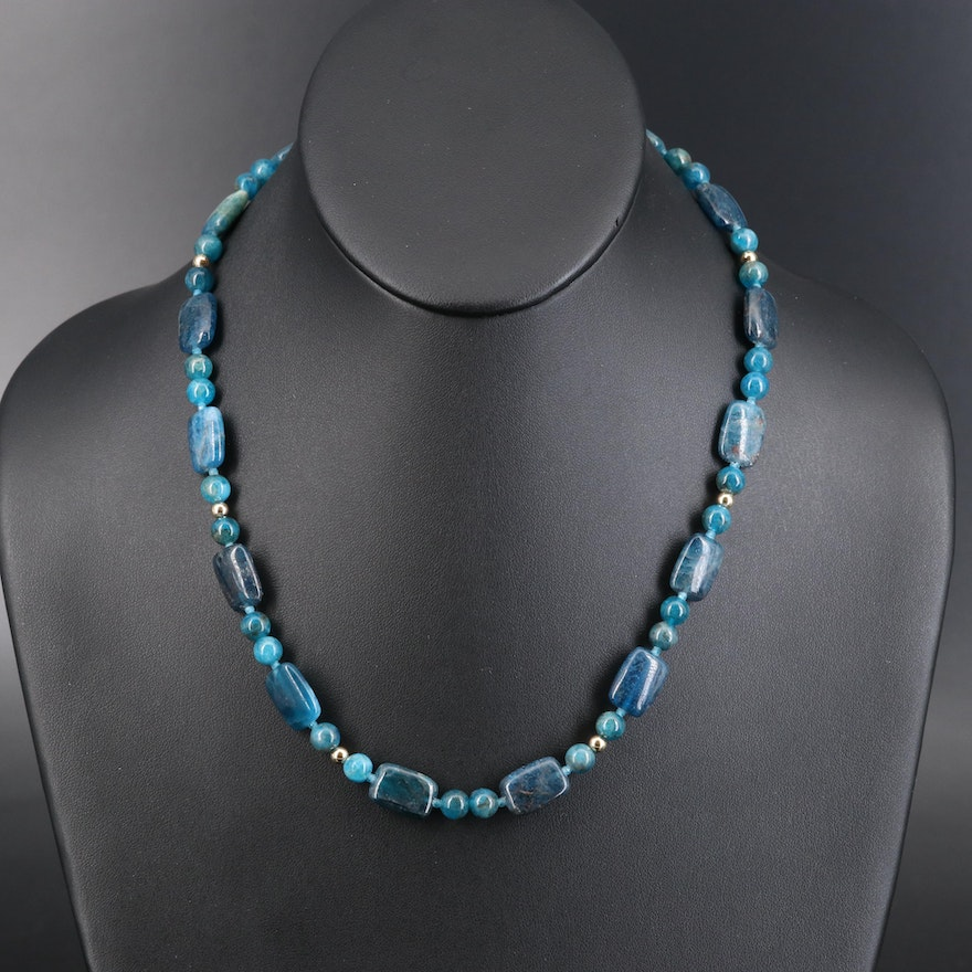 Apatite Beaded Necklace with Sterling and Diamond Clasp