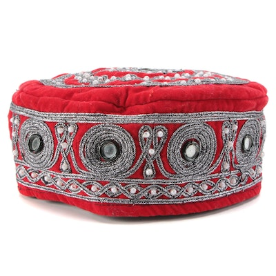 Kufi Style Cap with Mirrors, Beading and Metallic Silver Braided Cording
