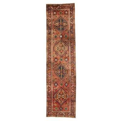 3'8 x 14'1 Hand-Knotted Wool Persian Qashqai Wool Long Rug