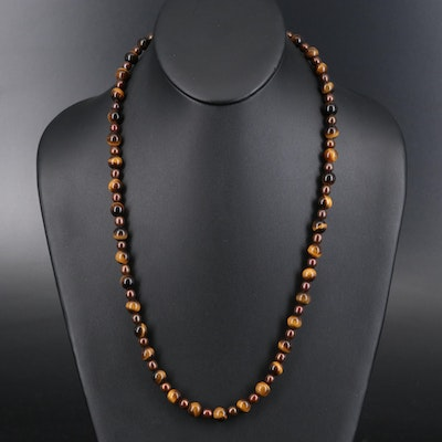 Tiger's Eye Quartz and Pearl Beaded Necklace with Gold-Filled Clasp