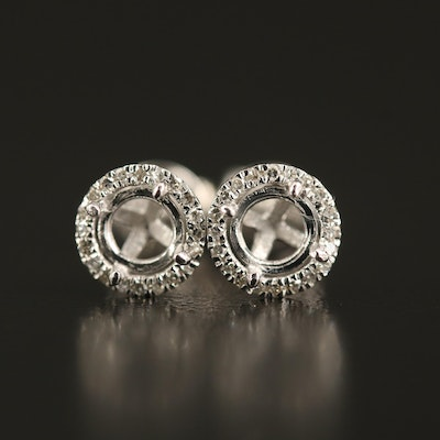 14K Diamond Halo Semi-Mount Stud Earrings