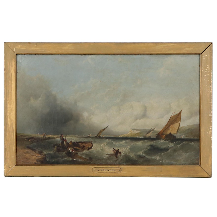 Alfred Montague Seascape Oil Painting of Rough Seas, Mid-19th Century