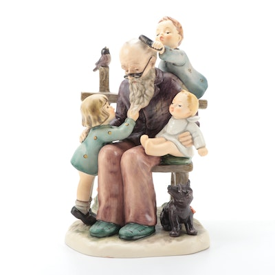 "Goebel Hummel Club Exclusive ""At Grandpa's"" Porcelain Figurine, 1990s"