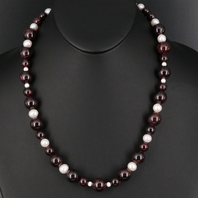 Garnet and Pearl Necklace with Sterling Clasp