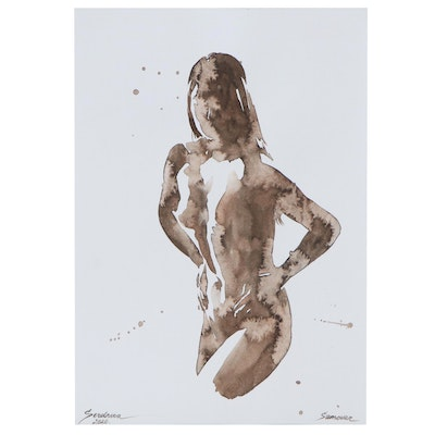 Anastasija Serdnova Watercolor Painting of Female Nude, 2020