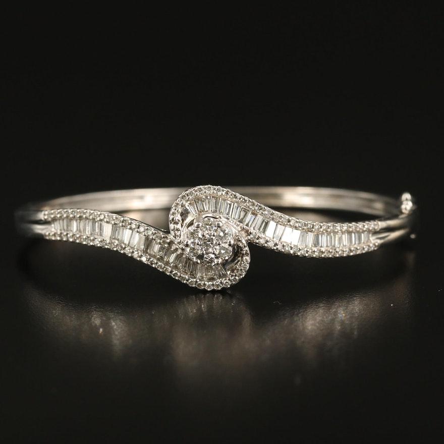 14K 2.46 CTW Diamond Hinged Bracelet