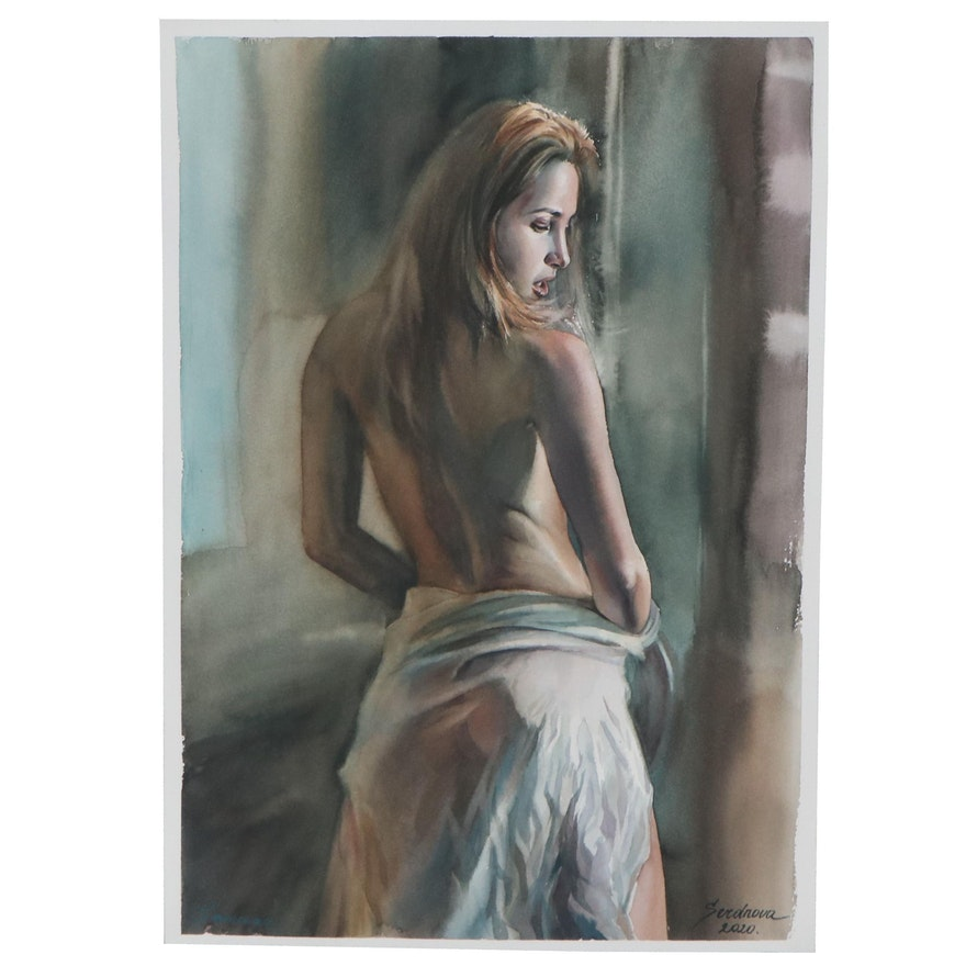 Anastasija Serdnova Watercolor Painting of Woman Draped in Cloth, 2020