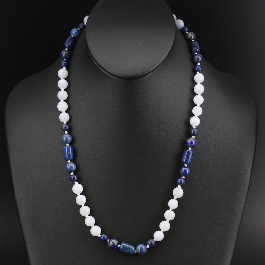 Lapis Lazuli and Calcite Beaded Necklace with Sterling Clasp