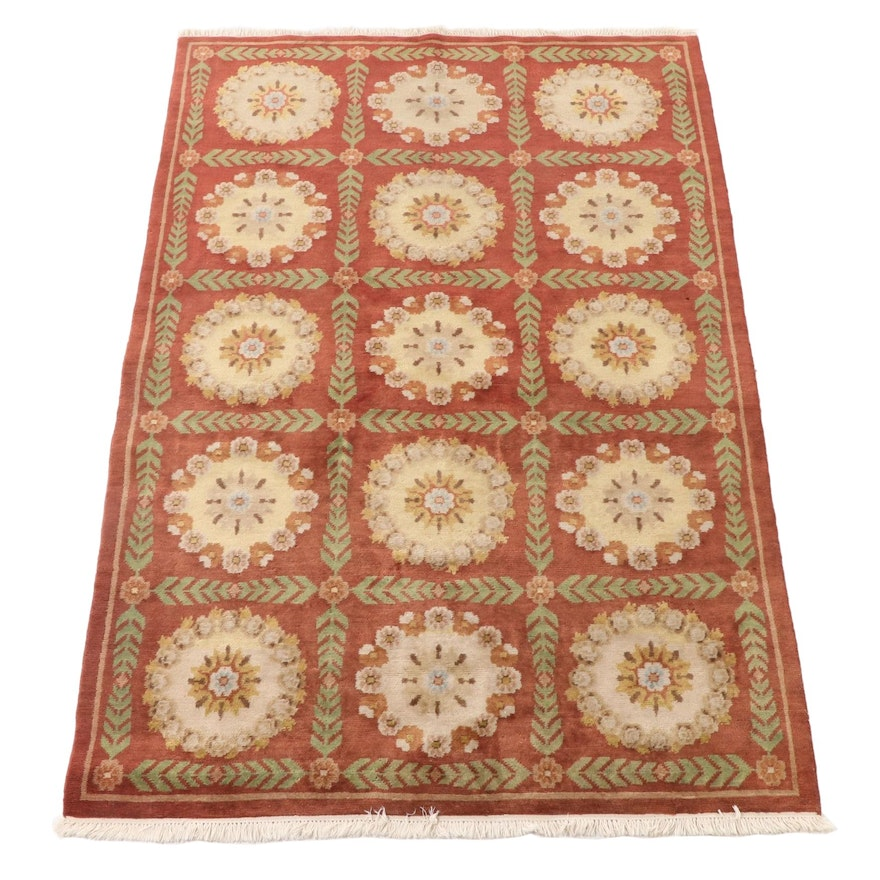 """6'1 x 9'10 Hand-Knotted Indian """"Persian Burgundy"""" Wool Area Rug"""