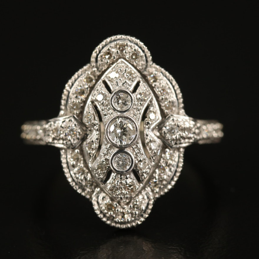 14K Diamond Scalloped Ring