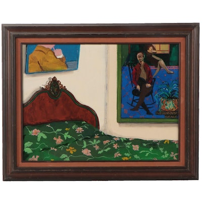 """Ned Stern Abstract Acrylic Painting """"Bedroom Corner,"""" 1985"""
