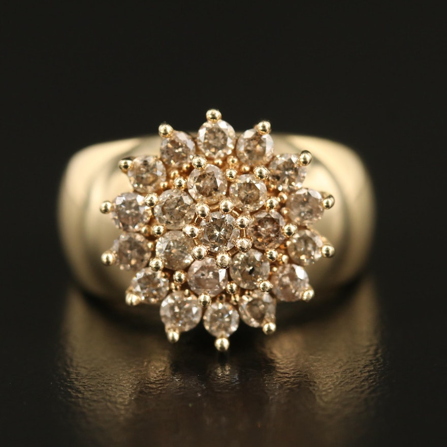 10K 1.45 CTW Diamond Cluster Ring