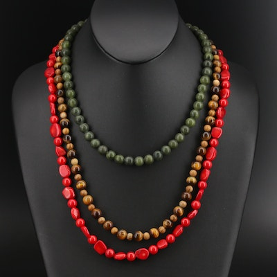 Coral, Tiger's Eye and Gemstone Necklaces with Sterling Clasps