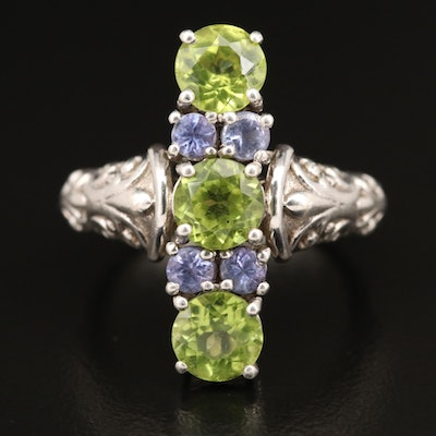 Sterling Peridot and Tanzanite Ring with Fleur-de-Lis Pattern