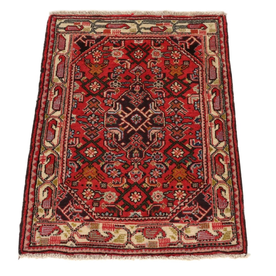2'3 x 3' Hand-Knotted Persian Nahavand Rug, 1970s