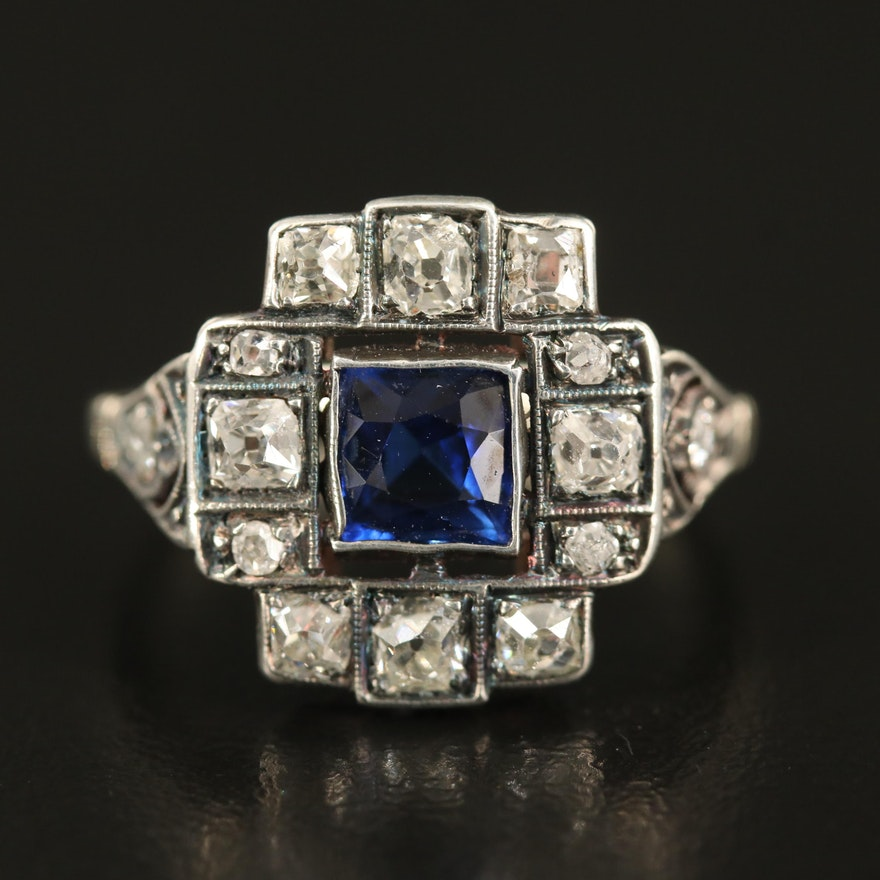 Antique Sterling and 14K Sapphire and Diamond Ring