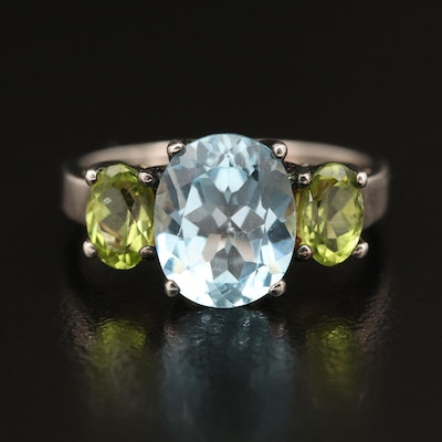 Sterling Topaz and Peridot Ring