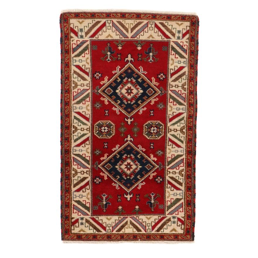 3'2 x 5'4 Hand-Knotted Indo-Caucasian Kazak Rug, 2010s