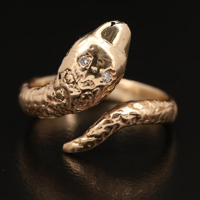 14K Diamond Snake Bypass Ring