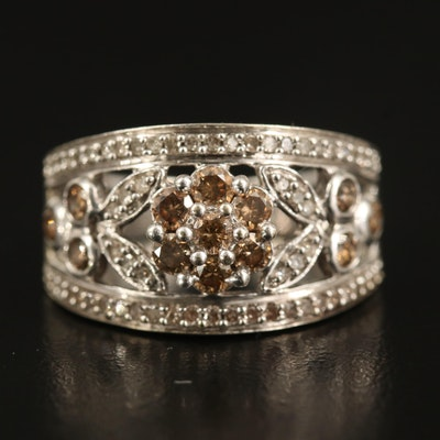 14K Diamond Floral Ring