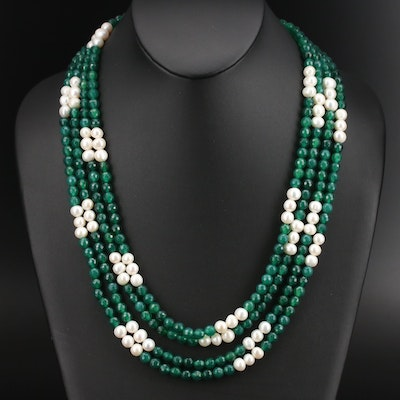 Multi-Strand Pearl and Chalcedony Necklace with Sterling Clasp