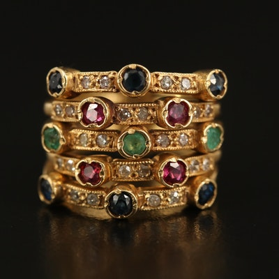18K Diamond and Mixed Gemstone Multi-Band Ring
