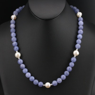 Sterling Pearl and Quartz Beaded Necklace