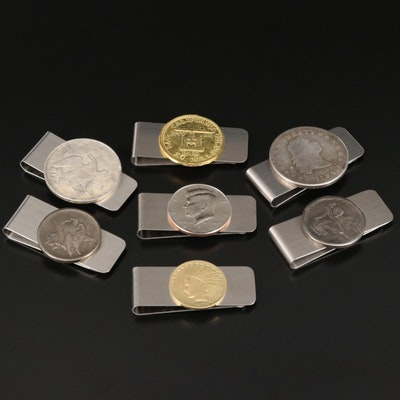 Coin Accented Money Clip Selection Including Kennedy Clad Half Dollar