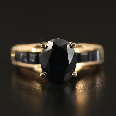 14K Channel Set Sapphire Cathedral Ring