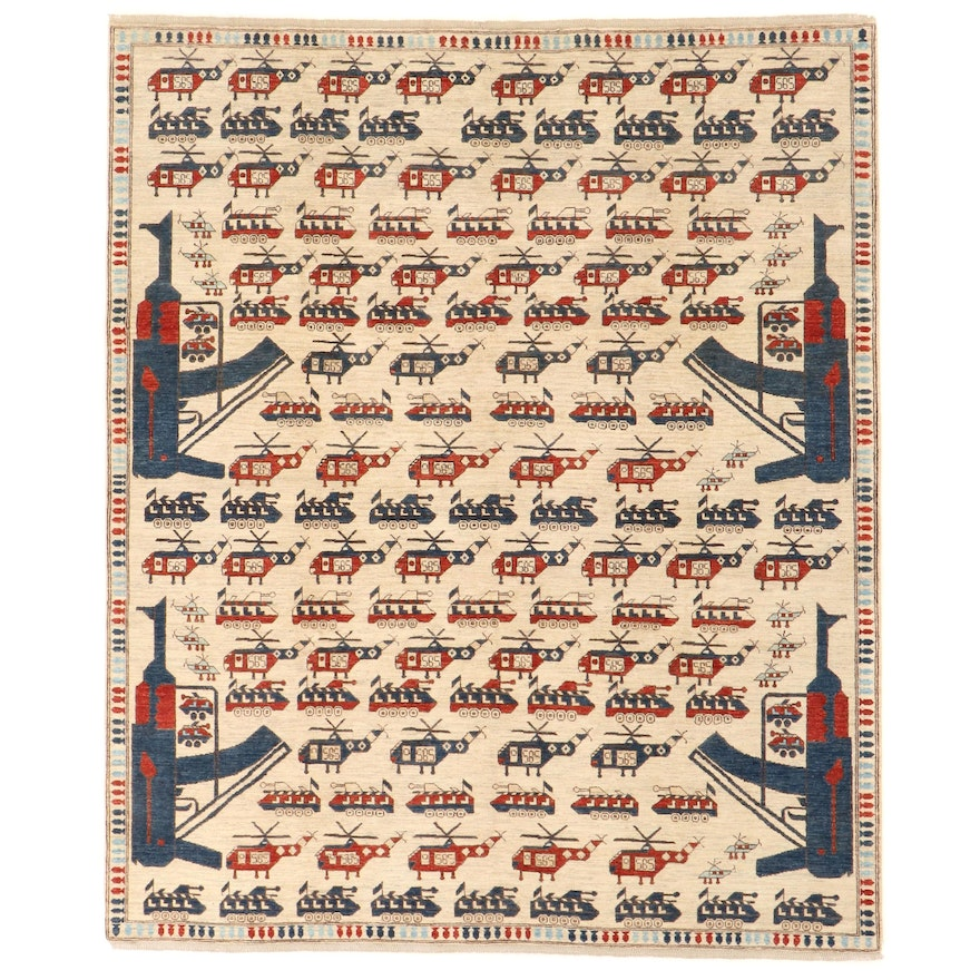 8'2 x 10' Hand-Knotted Afghan Pictorial War Rug