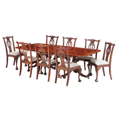 Chippendale Style Nine-Piece Mahogany Dining Set with Leaf Insert, Late 20th C.