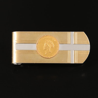 Anson Sterling and 18K Money Clip with Type II Indian Princess Head Gold Dollar