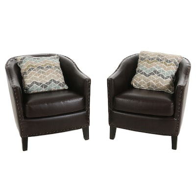 Pair of Bonded Leather Club Chairs