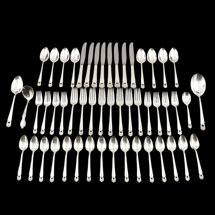 """1847 Rogers Brothers """"Eternally Yours"""" Silver Plate Flatware, Mid-Late 20th C."""