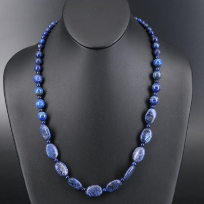 Quartzite and Lapis Lazuli Beaded Necklace with Sterling Clasp
