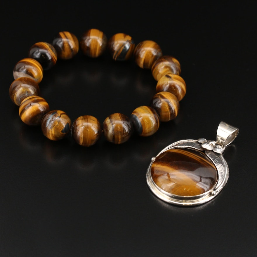 Merav Sterling Tiger's Eye Pendant with Expandable Tiger's Eye Bracelet
