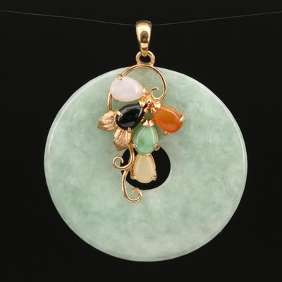 14K Multicolor Jadeite Bi Disk Pendant