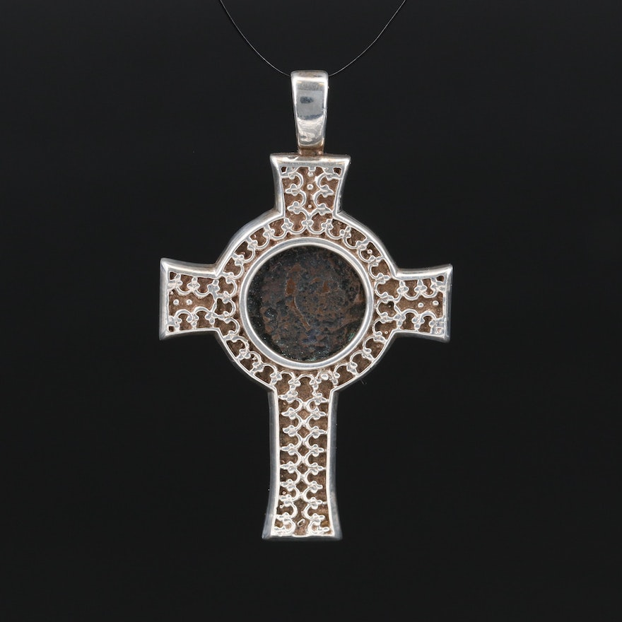 """Ancient Judaea a Bronze Prutah""""Widow's Mite"""" Coin in Sterling Cross Pendant"""