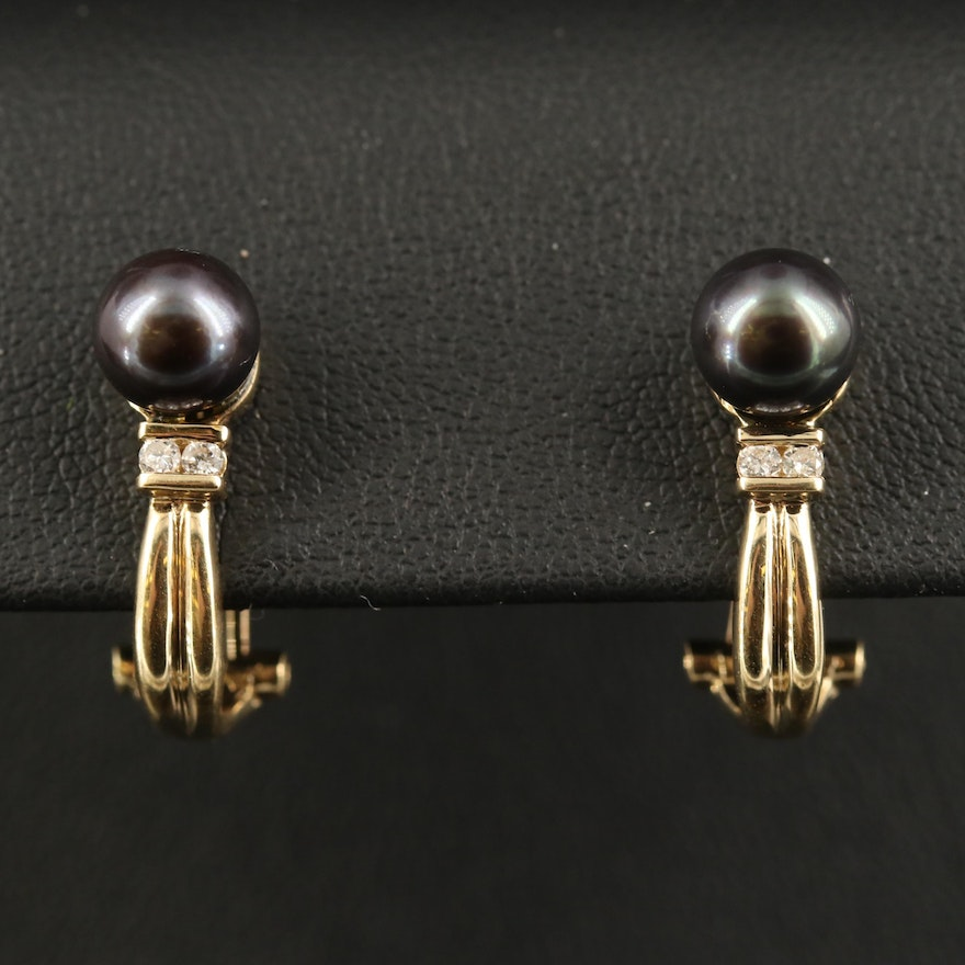 14K Pearl and Diamond J-Hoop Earrings